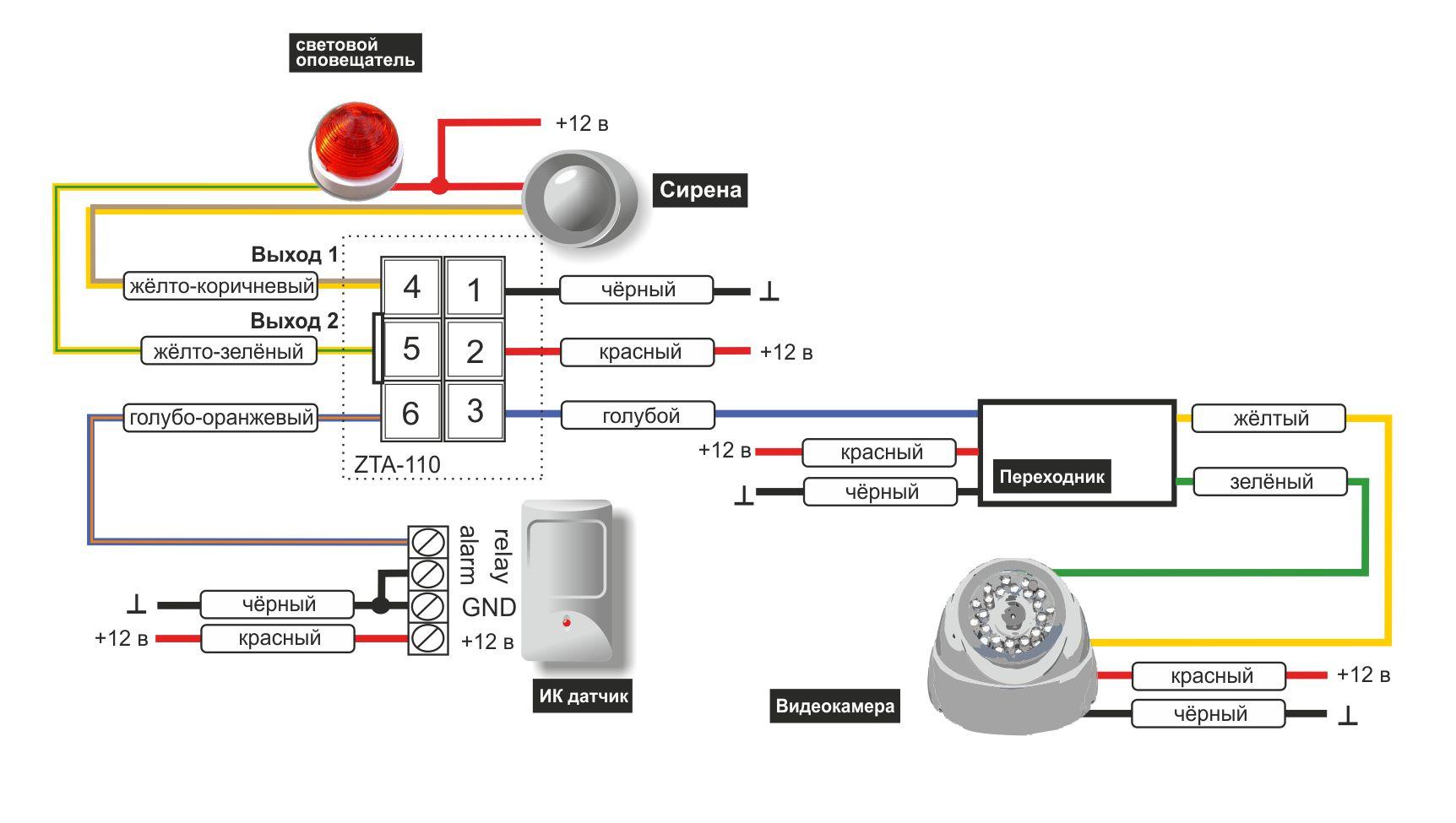 схема подключения датчика движения с видеокамерой